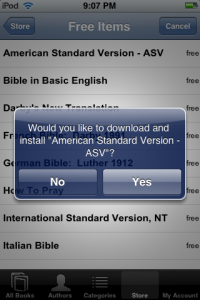You can purchase Bibles and other books right from your iPhone/iTouch