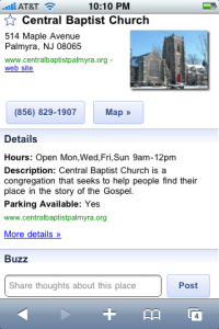 Local listing as shown in Google Buzz