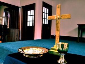 Communion set up at Central Baptist