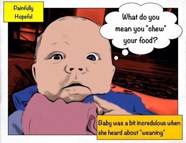 Baby is mystified by the concept of chewing food