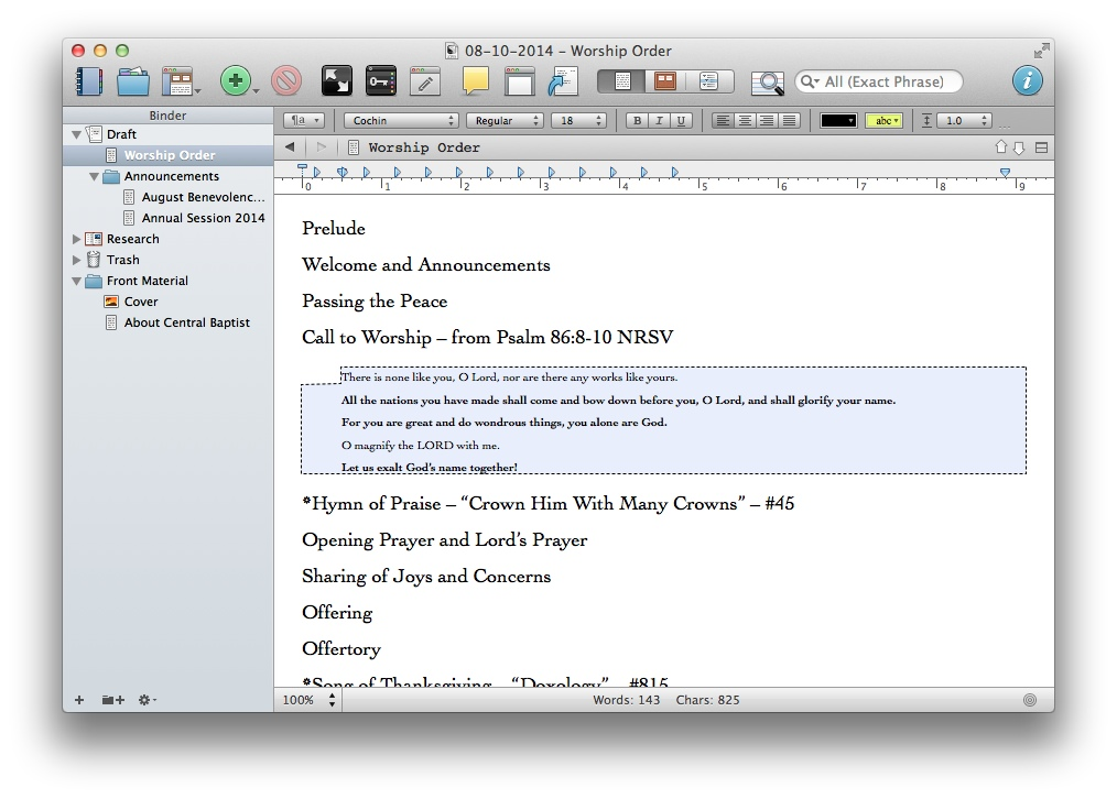 Scrivener Editor