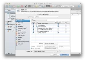 Scrivener Compilation Window