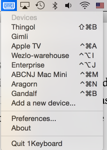 Listing of devices paired with my Mac and 1Keyboard