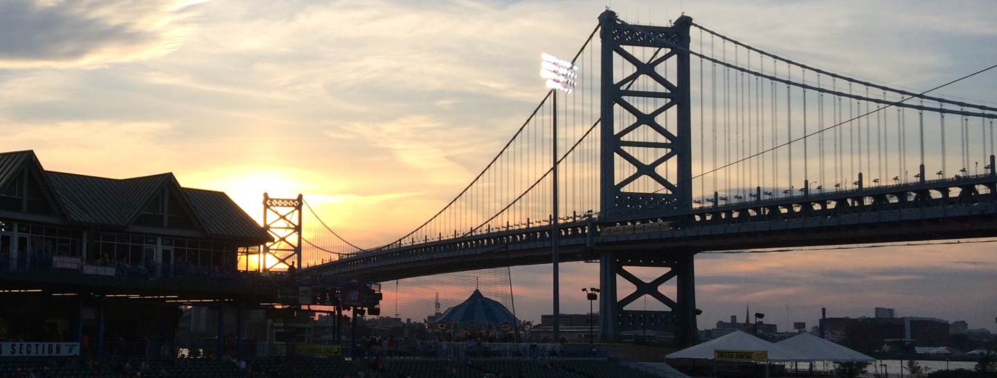 Ben Franklin Bridge at Sunset