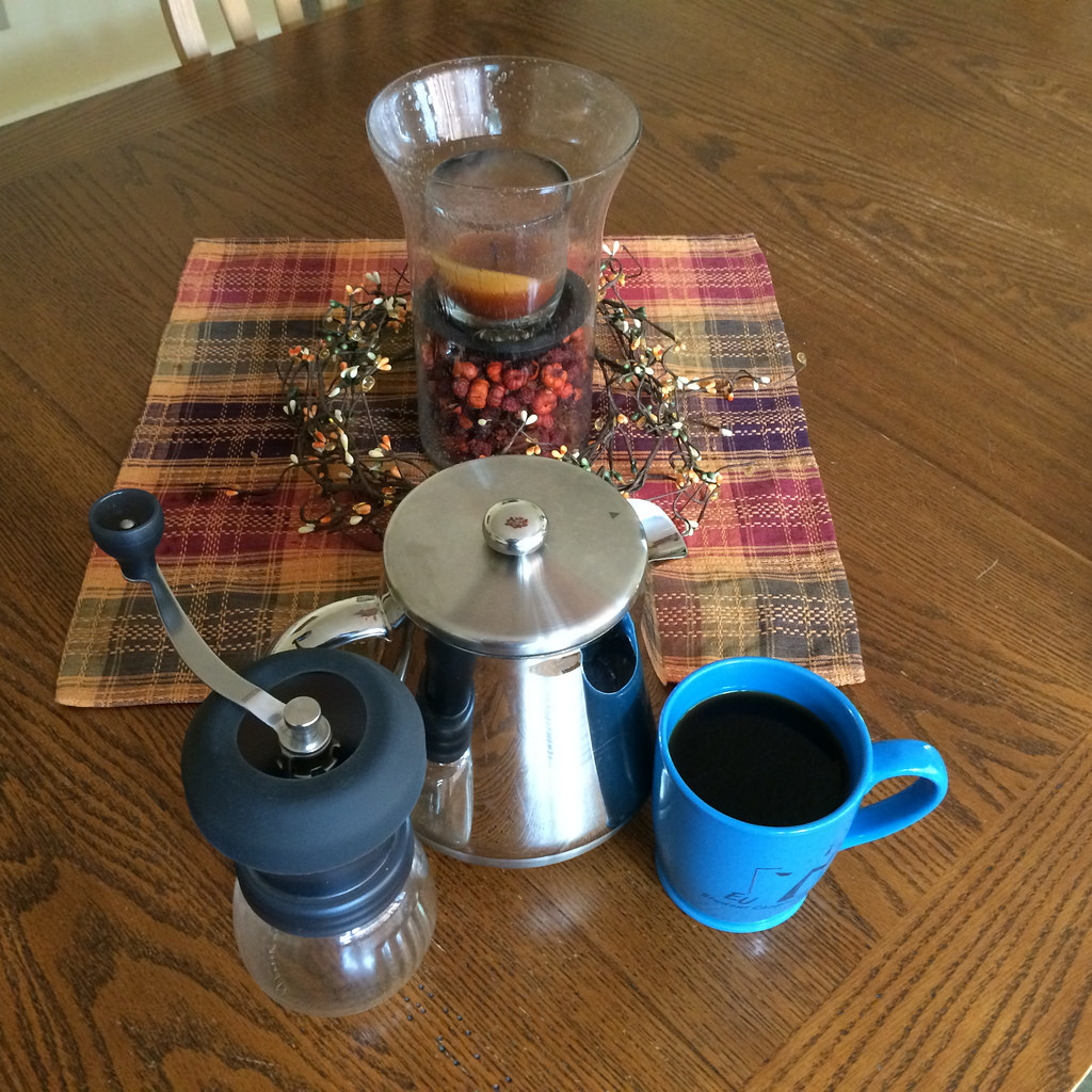 coffee grinder, french press, mug