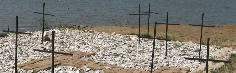 Crosses in the Jamestown Island burial site