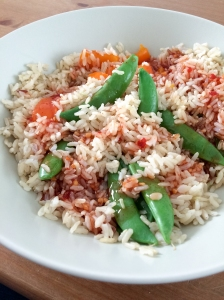 Rice and snap peas