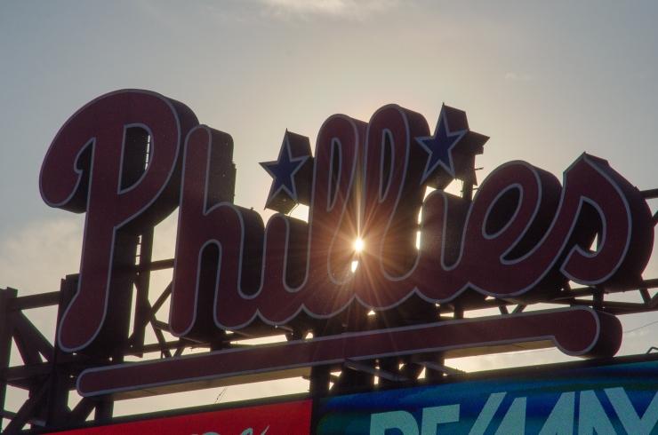 Phillies scoreboard at sunset