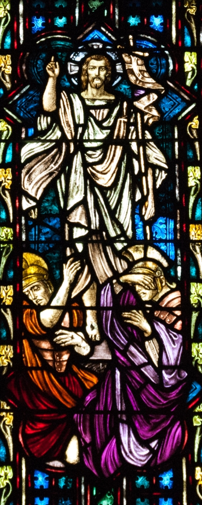 Jesus' resurrection as portrayed in stained glass.