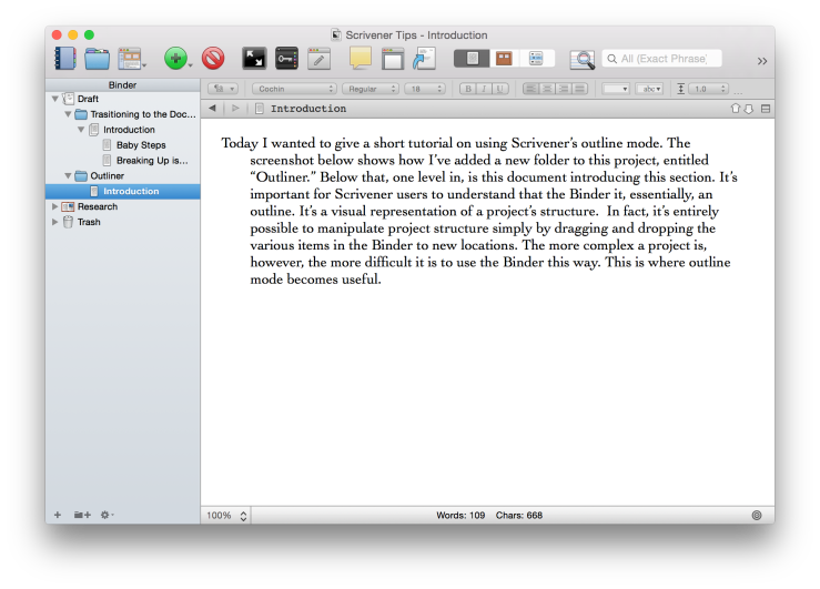 Scrivener Screenshot showing a new folder in the binder