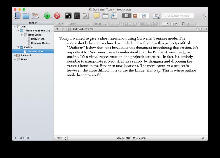Scrivener Screenshot showing a new folder in the binder