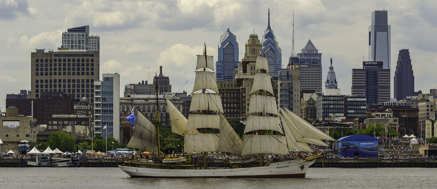 A Tall Ship in front of the Philly Skyline