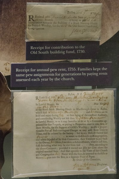Pew receipt from Old South Meetinghouse in Boston
