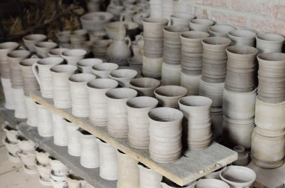 Pottery drying as it awaits the kiln