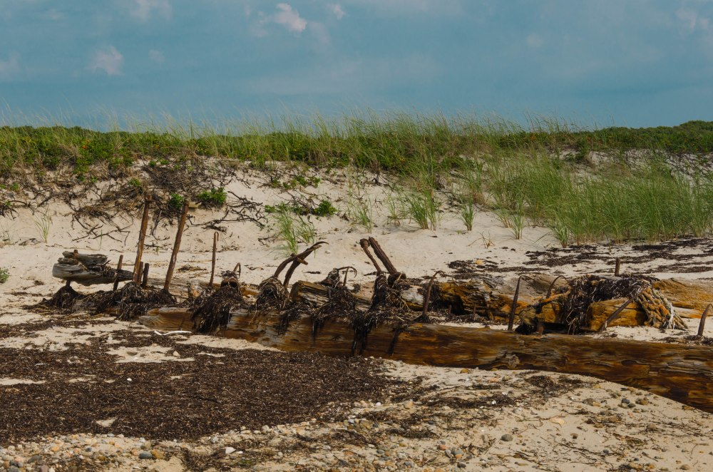 An old dock on a beach in Cape Cod.