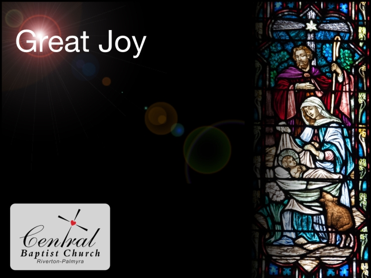 Great Joy - welcome slide for the Carol Sing