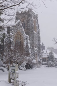 Central Baptist Church, covered in snow