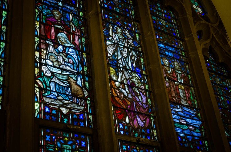 """Covenant"" - Jesus Nativity,Resurrection, and Baptism in stained glass"