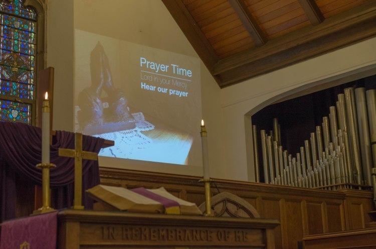 Prayer time at Central Baptist