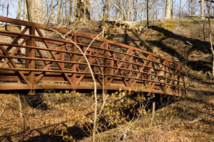 A walking bridge at Historic Smithville Park