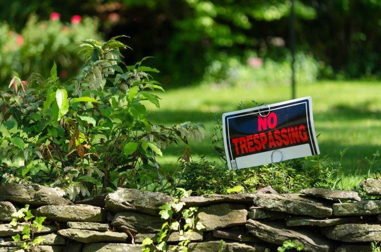 No Trespassing sign marring a lovely landscape