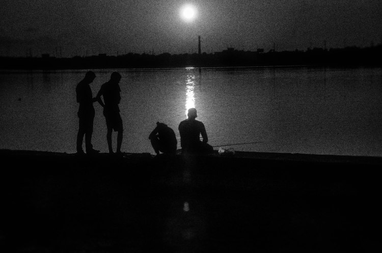 friends on the Delaware retaining wall, in BW