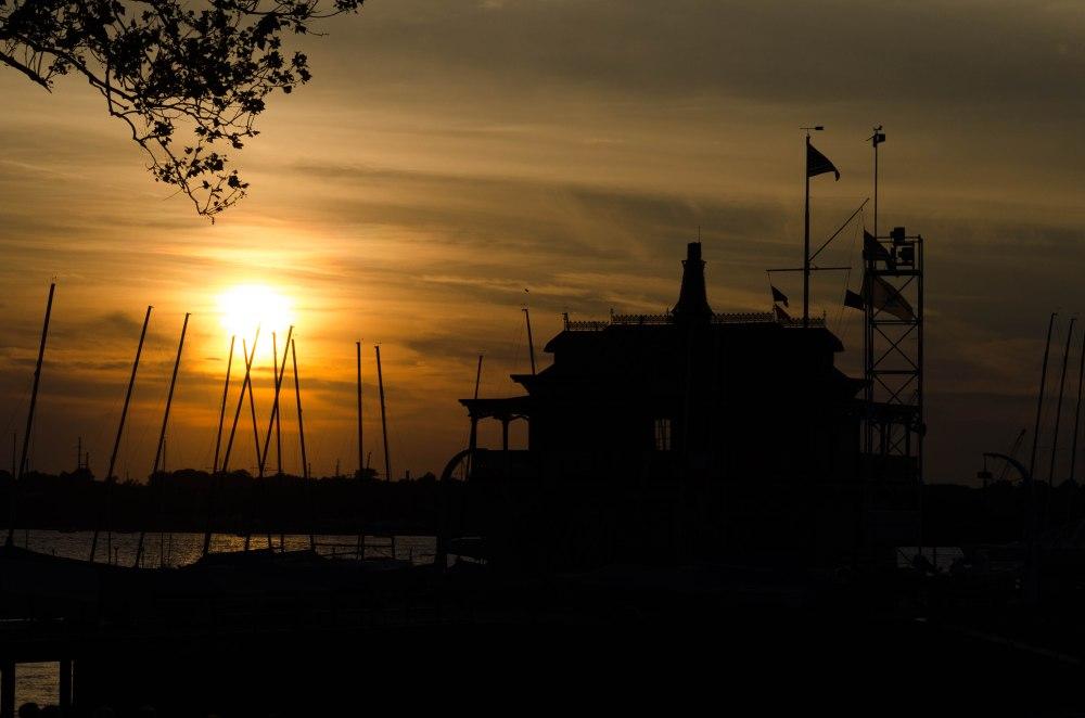 Riverton Yacht Club Boathouse at sunset