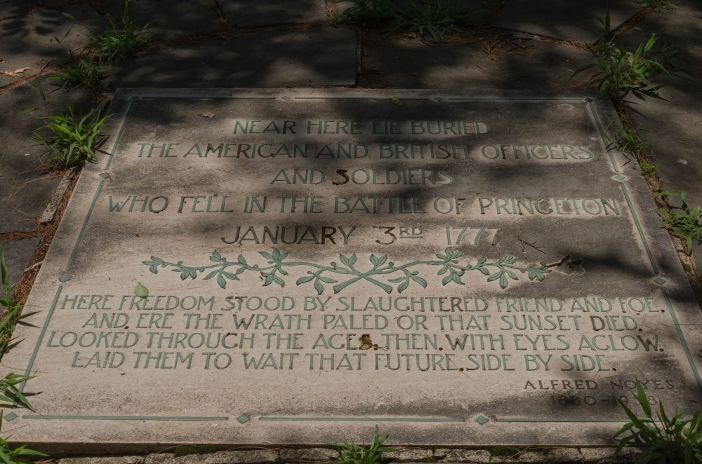 Memorial Plaque over the graves of those fallen at the Battle of Princeton