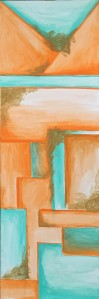 Abstract art, geometric shapes of orange and aqua-marine with a gold texture.