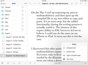 Share sheet in iOS Scrivener