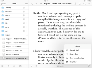 Share sheet in iOS Scrivener