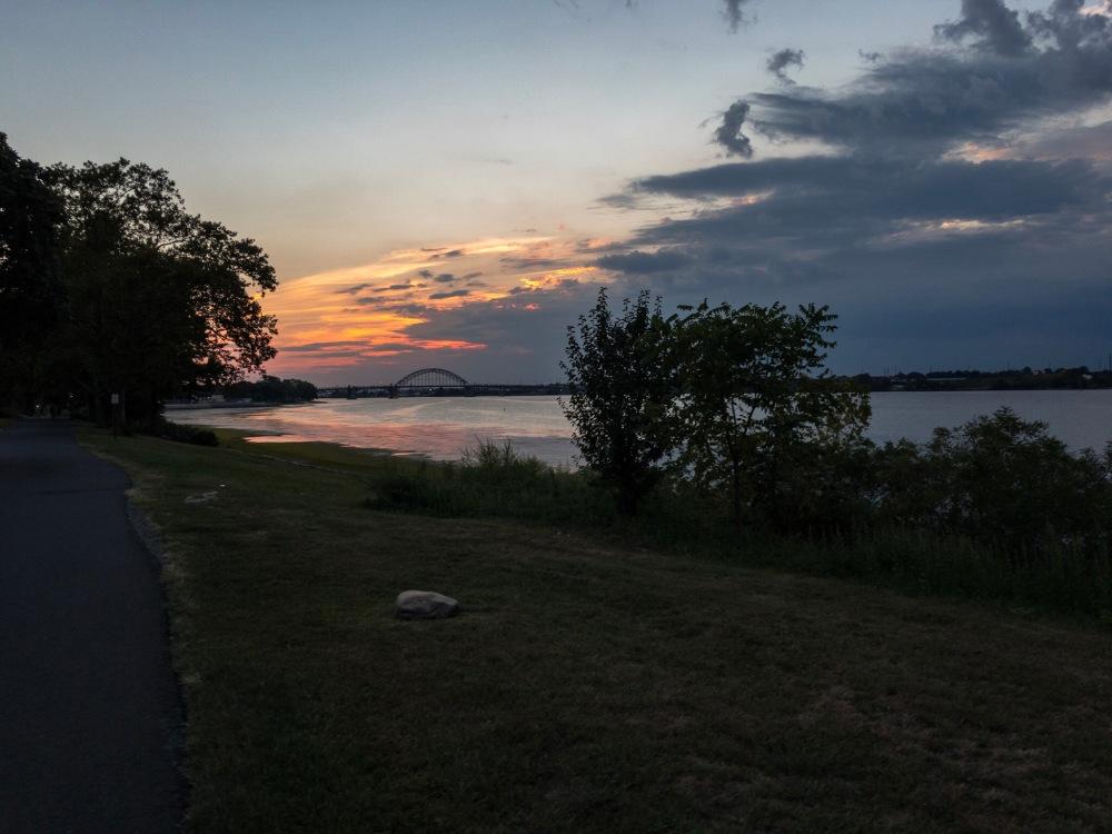 same delaware river sunset after processing