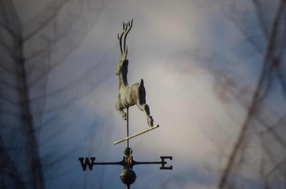 Weathervane on top of a house