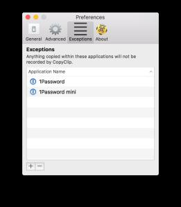 CopyClip 2 exclusions