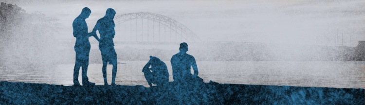 Silhouette friends by a foggy river