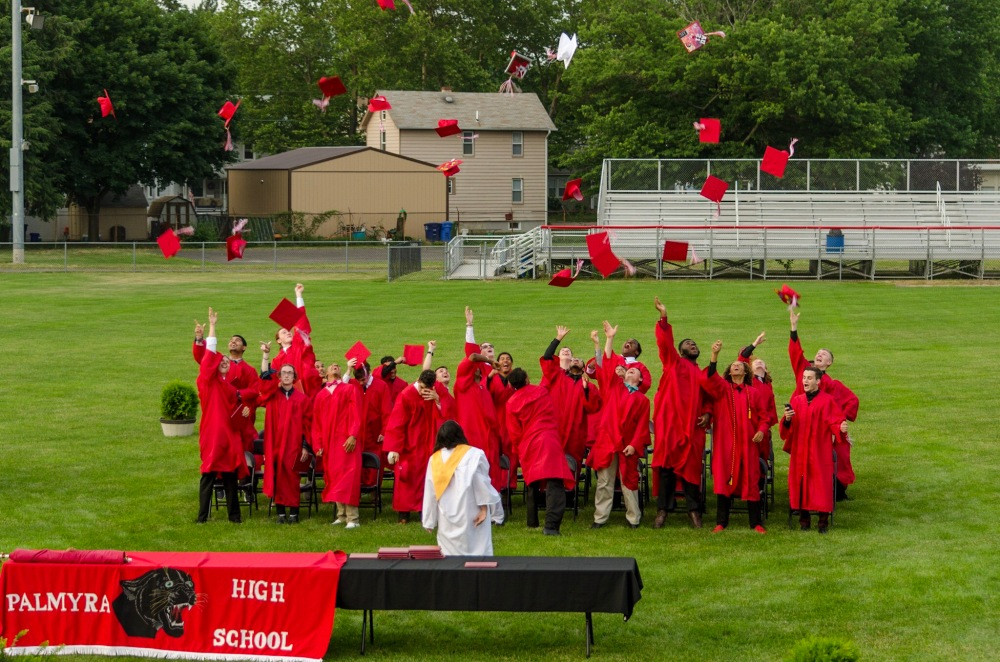 Traditional mortarboard toss