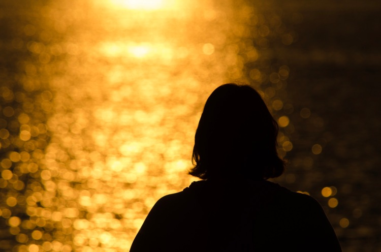 Silhouette in the foreground against a shimmering river