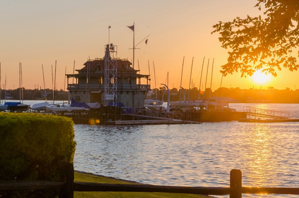 An HDR photograph of the Riverton Boat House at Sunset