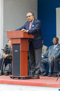 Dr. Clarence B. Jones addresses the crowd