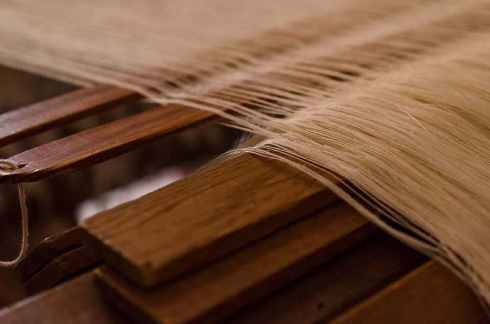 Threads on a weaver's loom