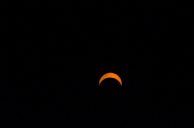 The partial eclipse at it's maximum coverage for my area.