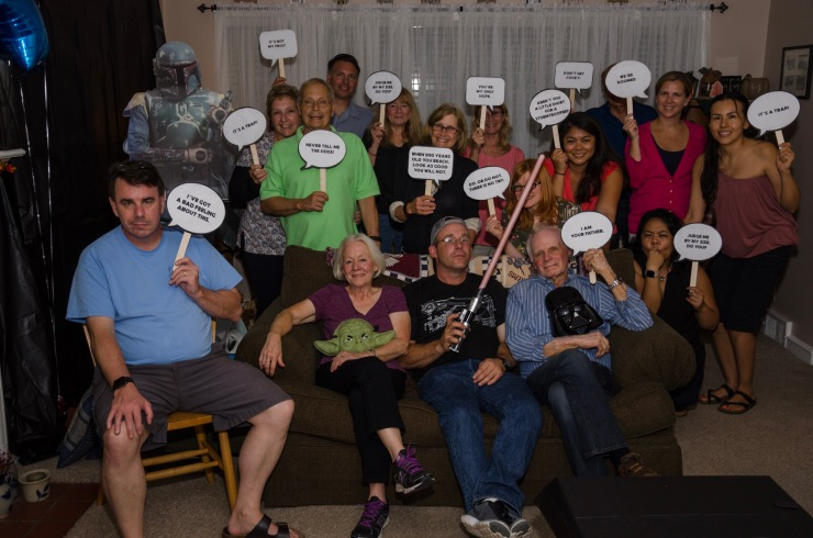 Star Wars Part group shot, whit assorted quote bubbles.