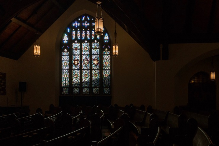 """Church Stained Glass, """"Gloria"""" and """"Alpha-Omega"""""""