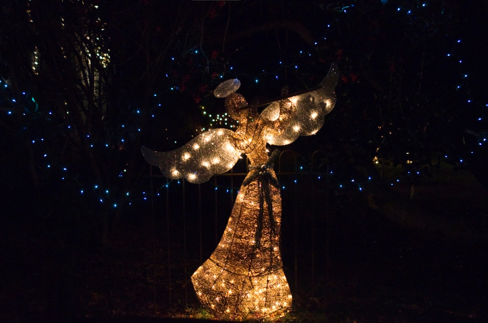 An angel made up of lights.