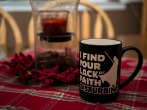"""I find your lack of faith disturbing"" Mug"