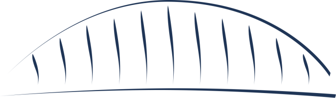 A stylized bridge deck with supporting arch
