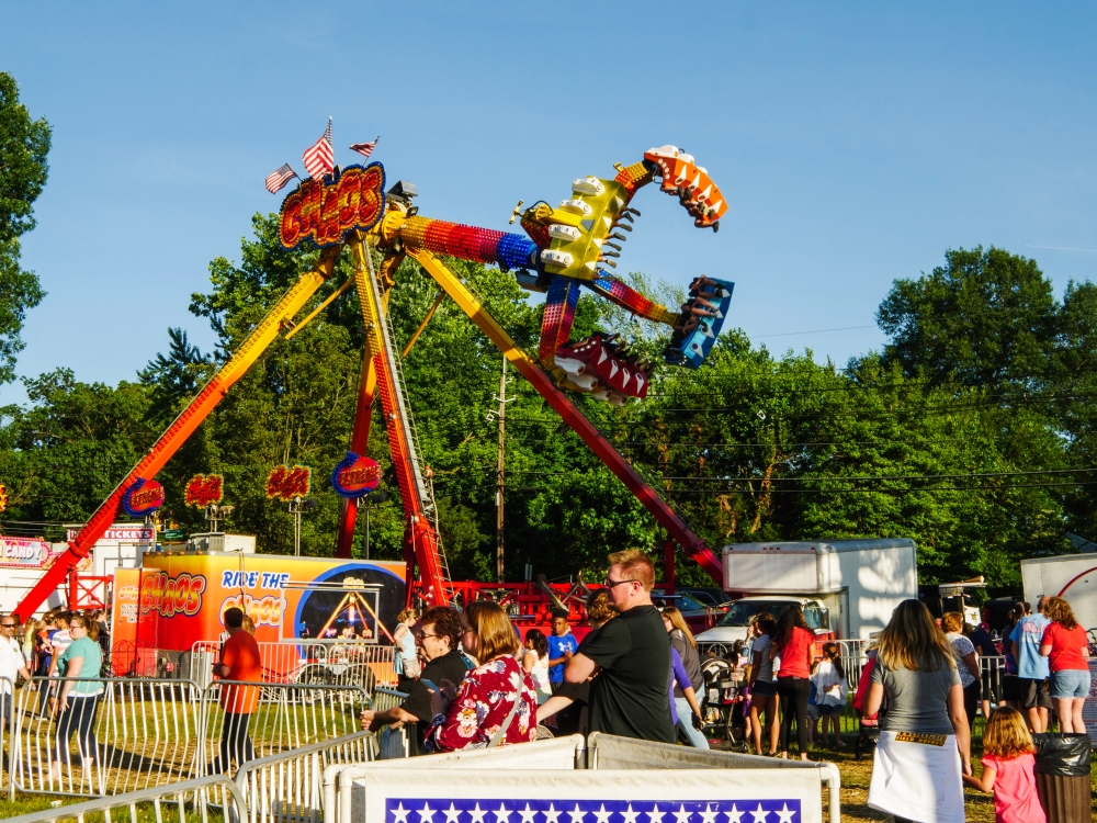 A thrill-ride at a carnival.