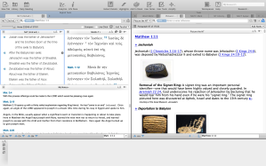 The Biblical text on the left, and Picture the NT on the Right