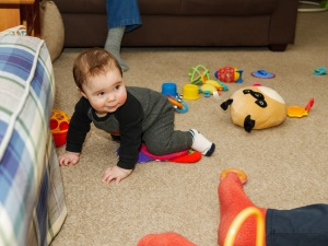 """Bump gives a look, right as about to venture into a """"no crawl"""" zone."""