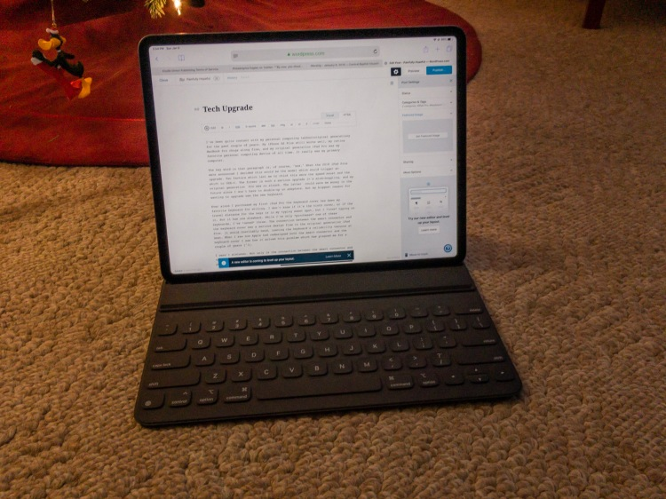 2018 iPad Pro with keyboard cover.